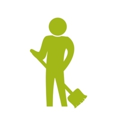Sweep pictogram action male man silhouette icon vector