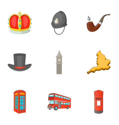 United kingdom sights icons set cartoon style vector