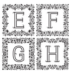 Vintage monograms set e f g h outline letters in vector