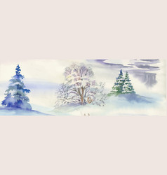 watercolor winter landscape vector image vector image