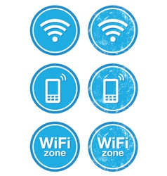 Wifi internet zone blue vintage labels set vector image