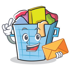 With envelope laundry basket character cartoon vector