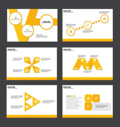 Yellow presentation templates infographic elements vector