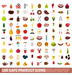 100 cafe product icons set flat style vector