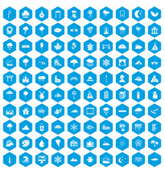 100 scenery icons set blue vector image vector image
