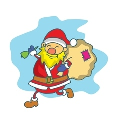 Santa claus with gift bag collection vector