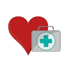 Heart cartoon and first aid kit icon vector