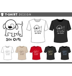 t shirt design with cute dog vector image
