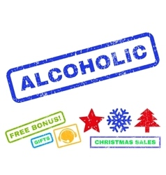 Alcoholic rubber stamp vector