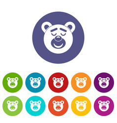 Sleeping teddy bear icons set flat vector