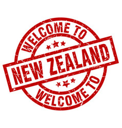 Welcome to new zealand red stamp vector