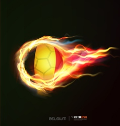 Belgium flag with flying soccer ball on fire vector