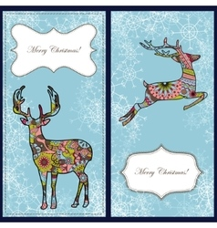 Set of christmas cards with deer and snowflakes vector image