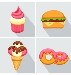 Set donut icon with pink glaze strawberry muffin vector
