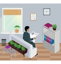 Isometric man reading newspaper design flat vector