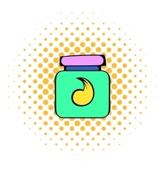 Hair gel in a plastic container icon comics style vector