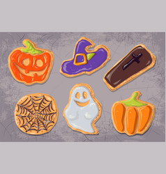 A set of gingerbread cookies on the theme of vector