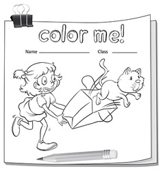 A worksheet with a girl and a cat vector image vector image