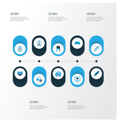 Antibiotic colorful icons set collection of form vector