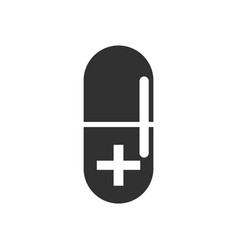 Black icon on white background capsule with cross vector