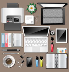 business workplace top view work accessories vector image vector image
