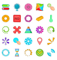 Button icons set cartoon style vector