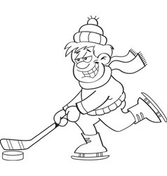 Cartoon boy playing hockey vector image