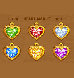 cartoon golden heart love amulets vector image vector image