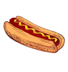 Colored hand sketch hot dog vector image