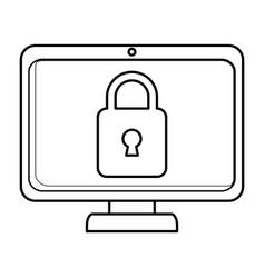 Computer display with padlock vector