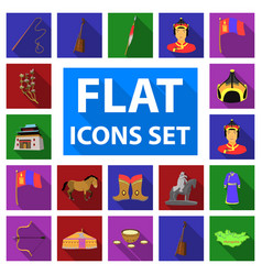 Country mongolia flat icons in set collection for vector