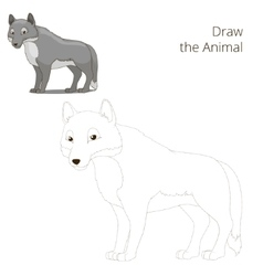 Draw the forest animal wolf cartoon vector image vector image