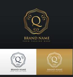 elegant letter q logo monogram style design vector image