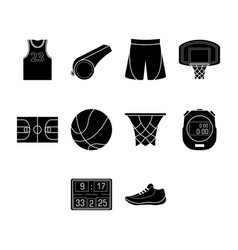 Flat black basketball icon set vector