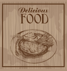 Hand drawn steak vegetable delicious food poster vector
