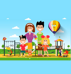 Happy famiy in city park vector