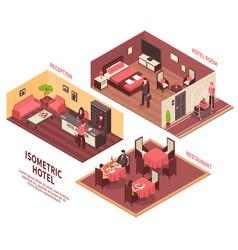 isometric hotel vector image vector image