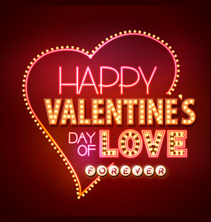 neon sign happy valentines day typography vector image vector image