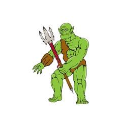Orc warrior monster trident cartoon vector