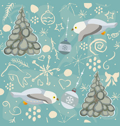 seamless winter pattern with owls and trees vector image
