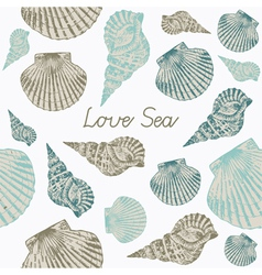 Seashells seamless background vector