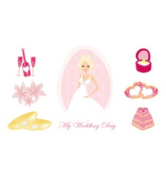 Set of wedding icons with bride vector image