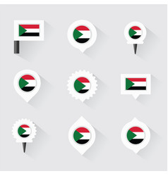 Sudan flag and pins for infographic and map design vector
