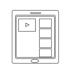 Tablet touch with video player on the screen vector