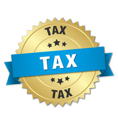Tax 3d gold badge with blue ribbon vector
