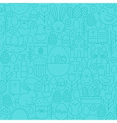 Thin happy easter line seamless blue pattern vector