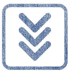 Triple arrowhead down fabric textured icon vector