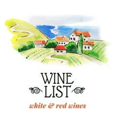Wine list Hand drawn sketch and watercolor vector image