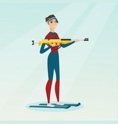 young caucasian biathlon runner aiming at target vector image vector image