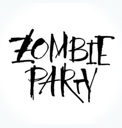 zombie party lettering for halloween vector image